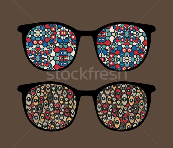 Сток-фото: ретро · очки · странно · отражение · моде · аннотация