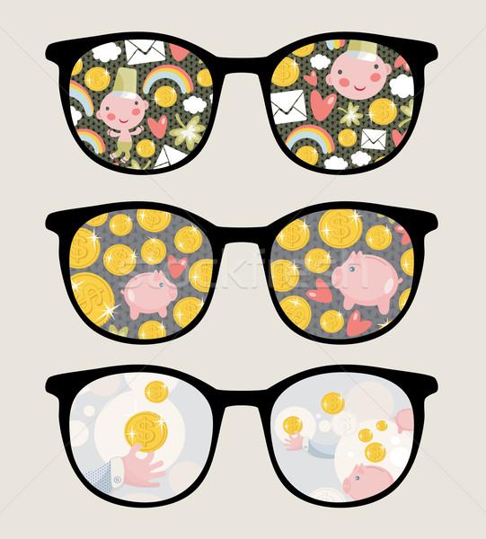 Retro sunglasses with coins reflection. Stock photo © ekapanova