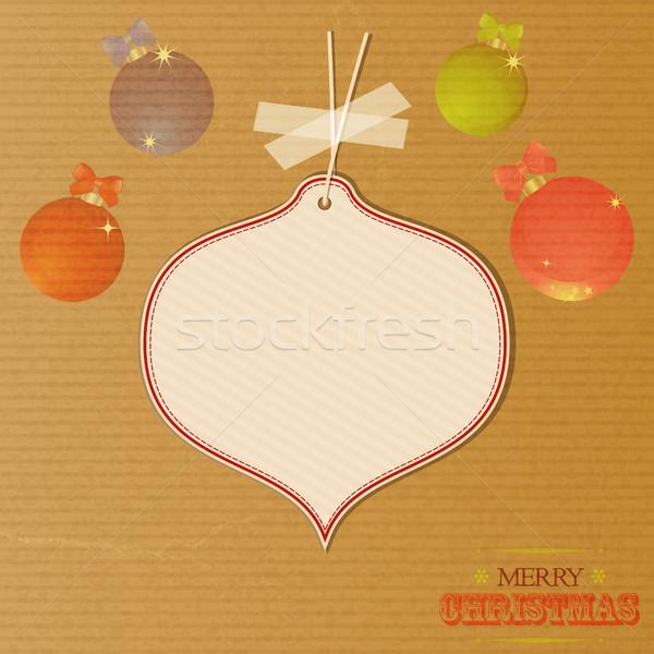 Noel mesaj etiket dekore edilmiş neşeli ambalaj kâğıdı Stok fotoğraf © elaine