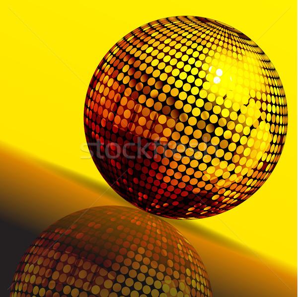 Or boule disco réflexion 3d illustration jaune brun Photo stock © elaine