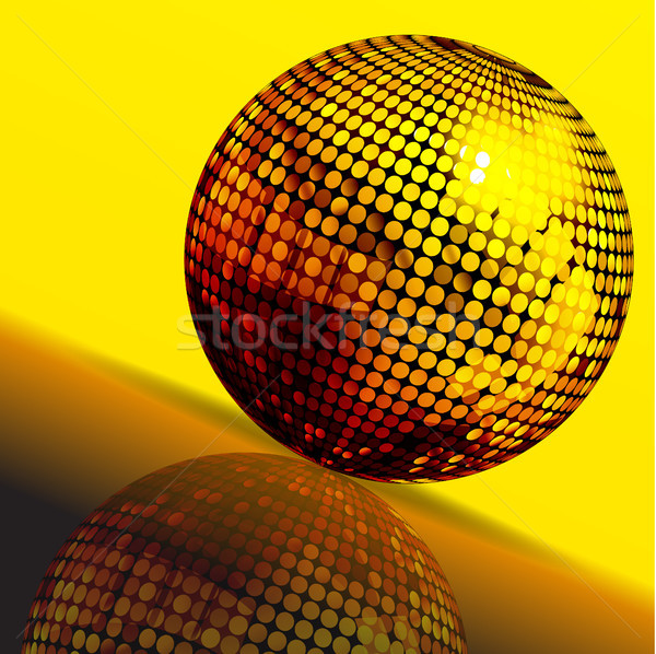 Gouden disco ball reflectie 3d illustration Geel bruin Stockfoto © elaine
