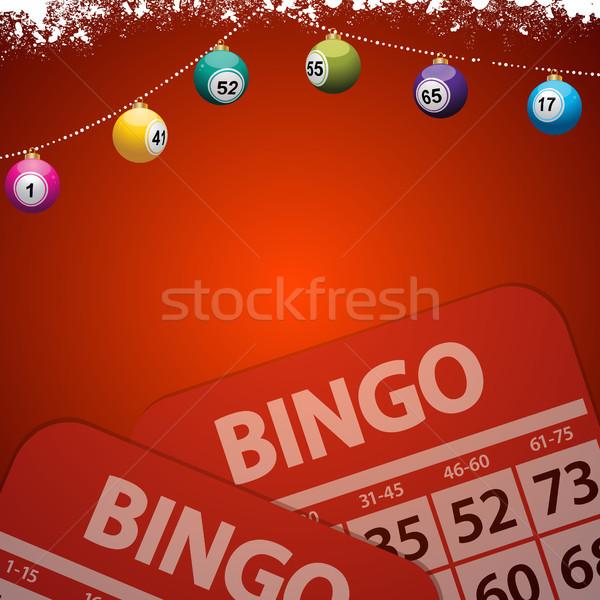 Natal bingo vermelho decorado cópia espaço Foto stock © elaine
