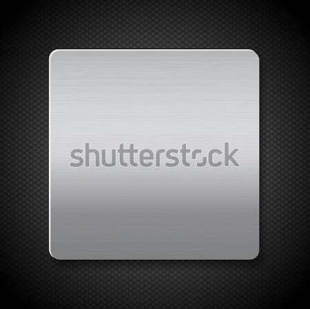 brushed metal panel on black texture background Stock photo © elaine