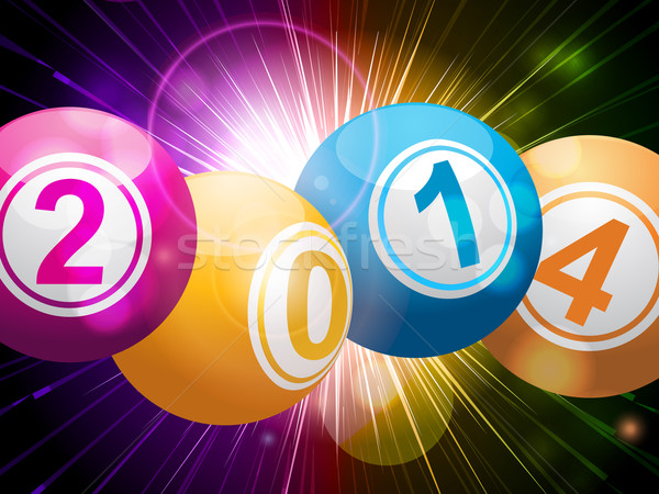 2014 bingo lottery balls on starburst Stock photo © elaine
