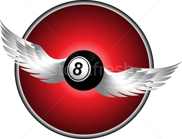 Foto stock: Número · oito · bingo · bola · asas · metálico