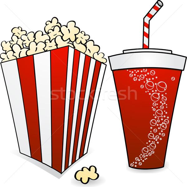 Popcorn sody polu pełny pić candy Zdjęcia stock © elaine