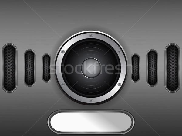 Luidspreker metaal plaat exemplaar ruimte metalen label Stockfoto © elaine