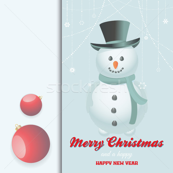 Noël neige homme carte décorations texte Photo stock © elaine