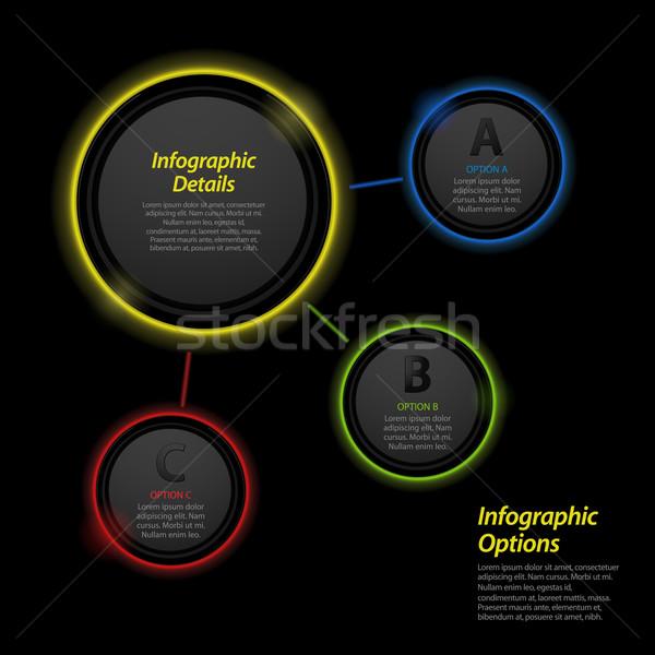 Neon infografika kör izzó körkörös sablon Stock fotó © elaine