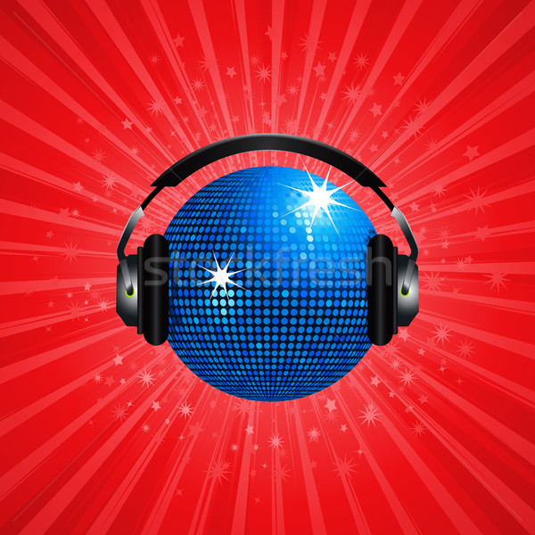 Blue disco ball and headphone on red background Stock photo © elaine