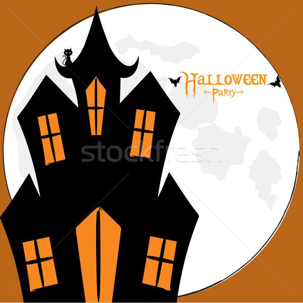 Halloween spooky house card Stock photo © elaine