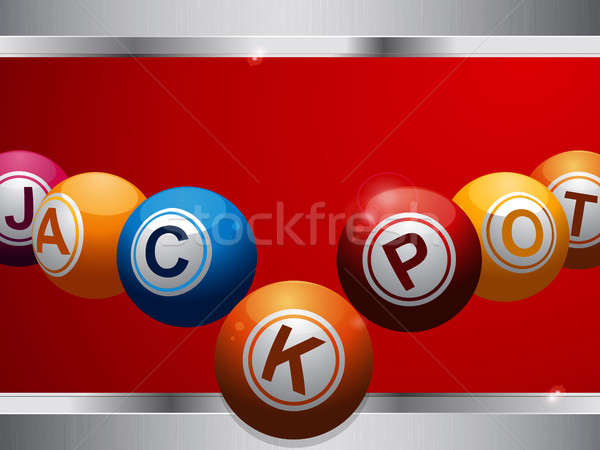Jackpot bingo lottery balls on red and metallic panel Stock photo © elaine