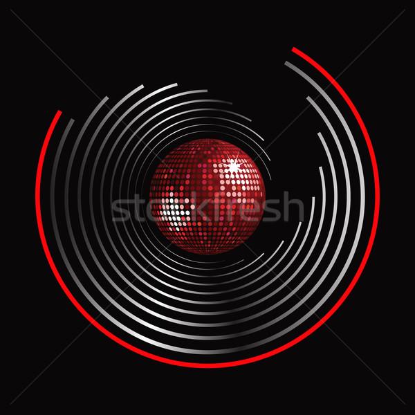 круга шаблон Disco Ball красный серебро черный Сток-фото © elaine