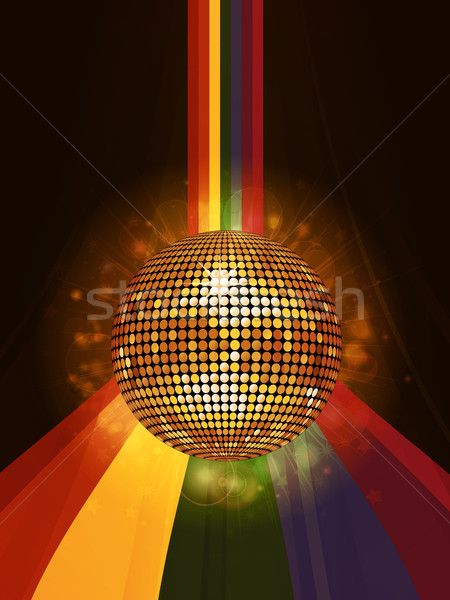 Glowing disco ball over rainbow portrait background Stock photo © elaine