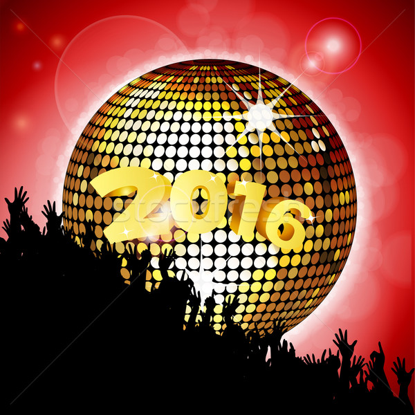 New Year party 2016 with disco ball and crowd Stock photo © elaine