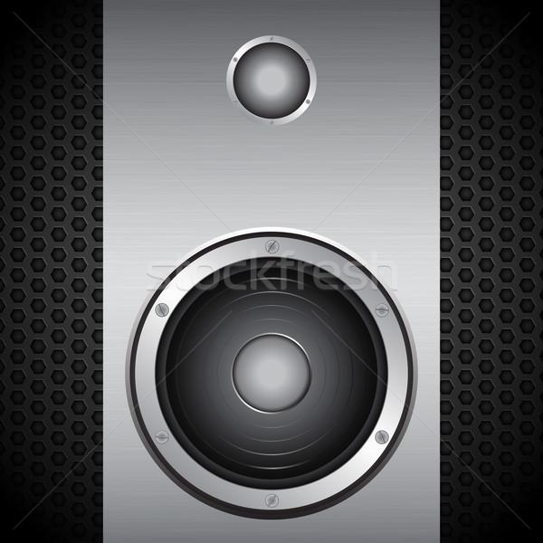 Big speaker on brushed metallic background Stock photo © elaine