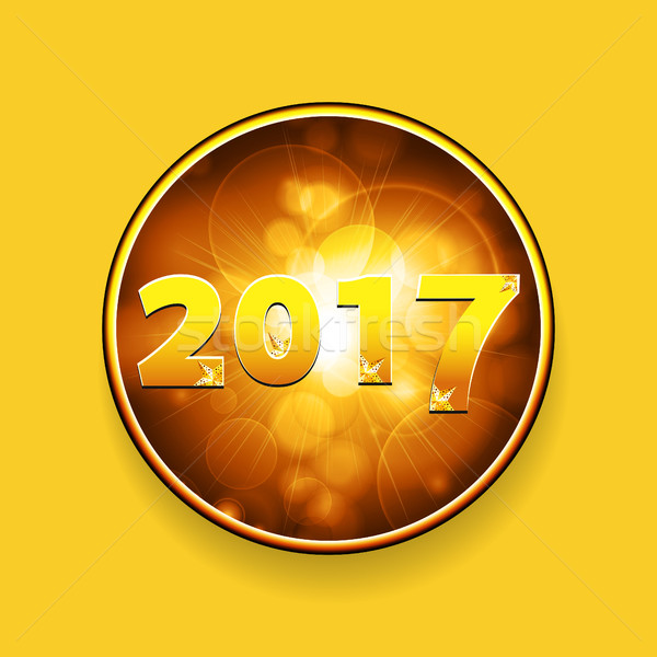 new year twenty seventeen border with stars on yellow background stock photo elaine