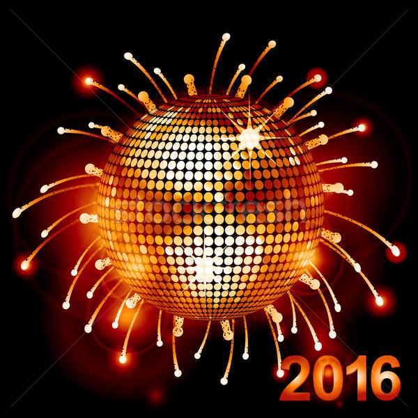 Disco ball vuurwerk 2016 feestelijk Stockfoto © elaine