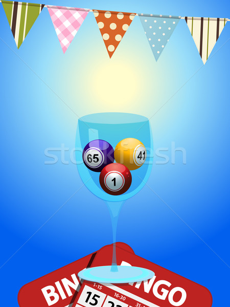 Bingo balls in a glass with cards and bunting Stock photo © elaine