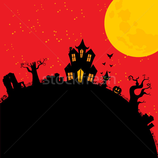 Halloween creepy house cartoons style Stock photo © elaine