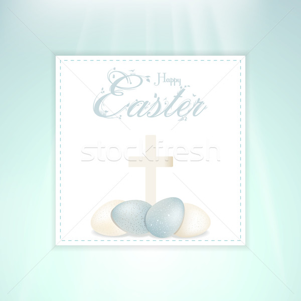 Easter speckled eggs and cross on panel Stock photo © elaine