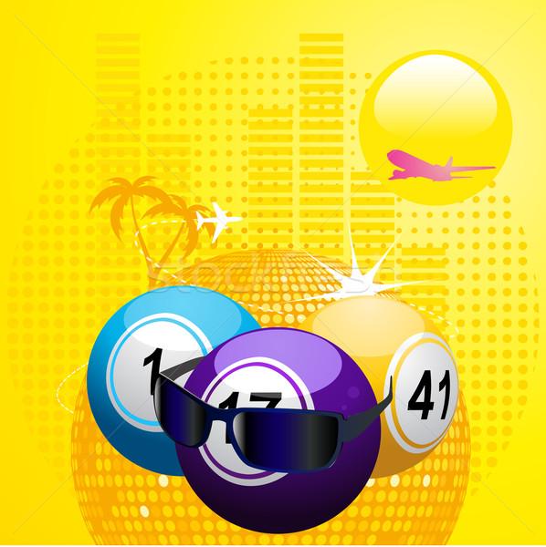 Bingo zonnebril zomer abstract Blauw Stockfoto © elaine