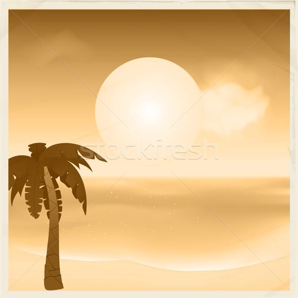 ヴィンテージ セピア 熱帯 カード シーン 太陽 ストックフォト © elaine