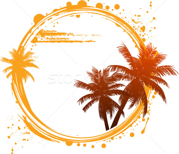 Tropicales été cercle palmiers arbre Photo stock © elaine