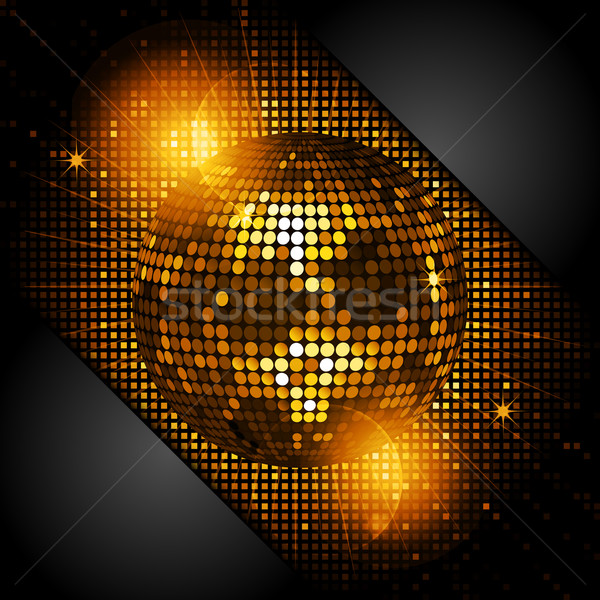 disco ball in glowing gold with black corners Stock photo © elaine