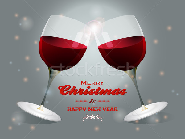 Рождества Бокалы прикасаться веселый текста Сток-фото © elaine