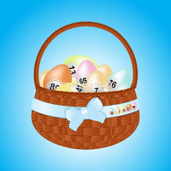 Pasen mand bingo eieren bruin lint Stockfoto © elaine