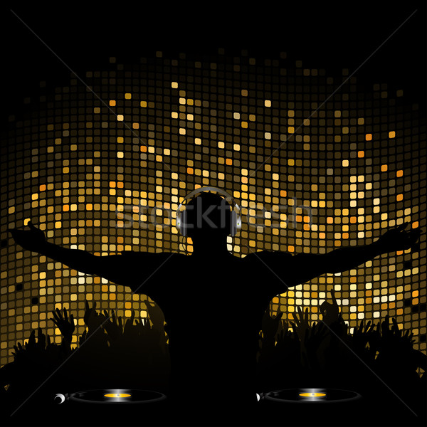 Gold mosaic dj and crowd2 Stock photo © elaine