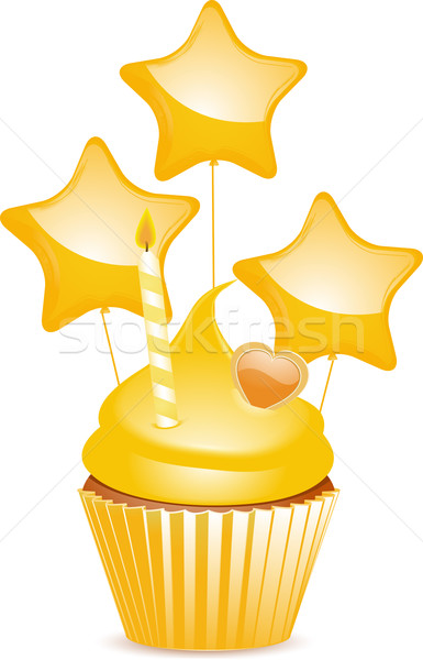 Stock photo: Yellow birthday cupcake