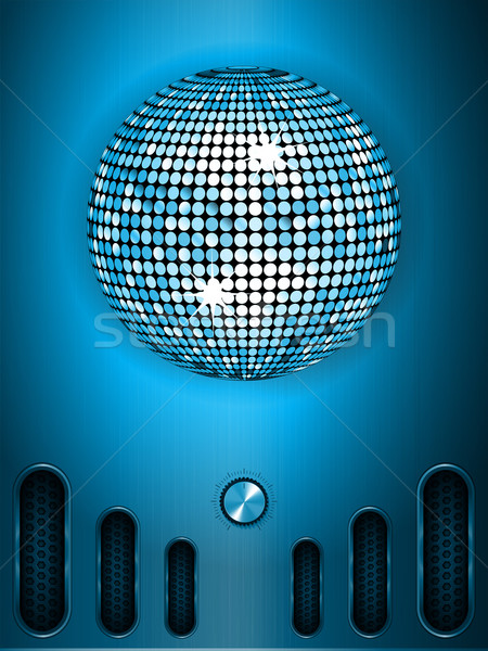 Disco ball with dial on blue metallic portrait background Stock photo © elaine