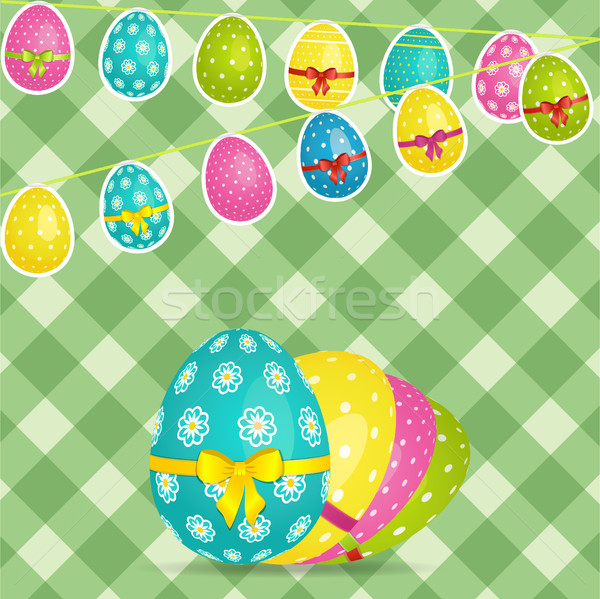 Stock photo: Easter egg bunting over crossed stripes background