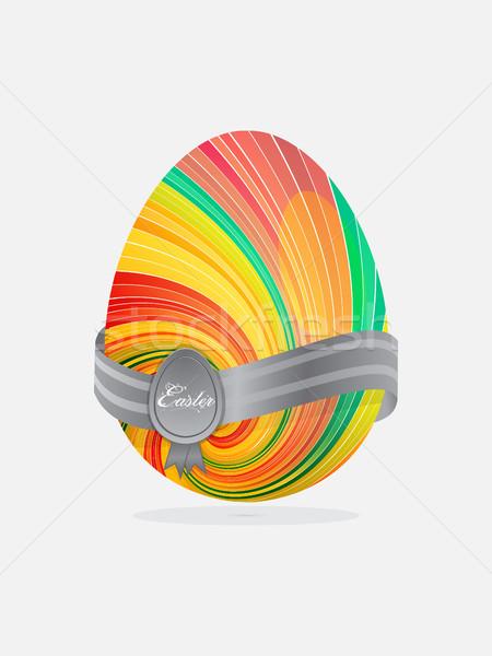 Swirl полосатый пасхальное яйцо баннер гребень текста Сток-фото © elaine