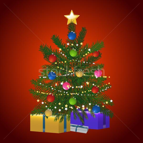 Сток-фото: рождественская · елка · подарок · красный · зеленый · украшенный · звезды
