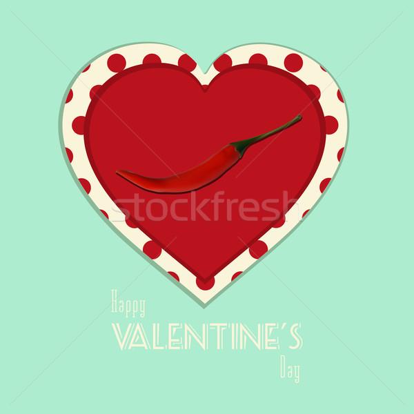 Walentynki vintage pikantny serca chili pieprz Zdjęcia stock © elaine
