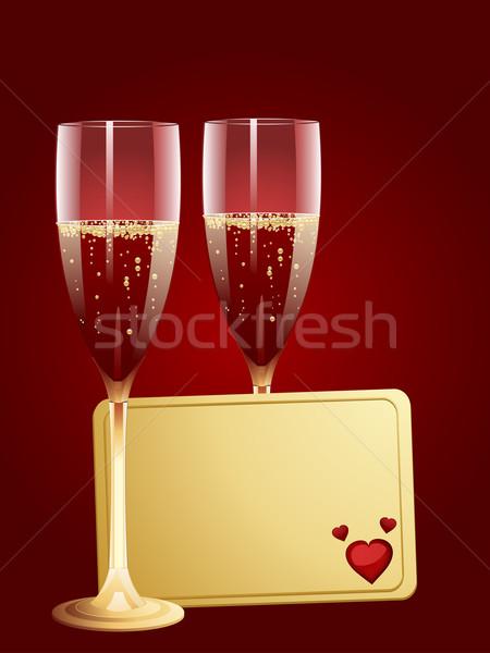 шампанского Валентин сообщение тег два флейты Сток-фото © elaine