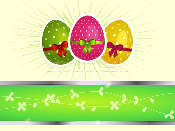 пасхальных яиц копия пространства украшенный лук свет Сток-фото © elaine