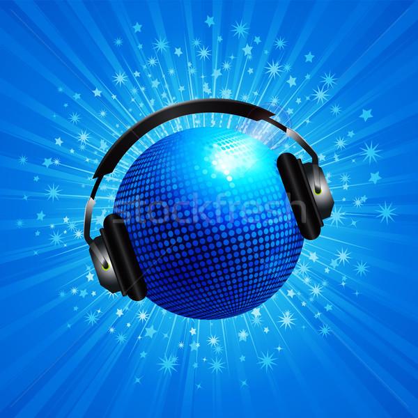 New 3D blue disco ball with headphone on star burst Stock photo © elaine