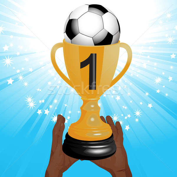 Stock photo: football trophy with hands and starburst