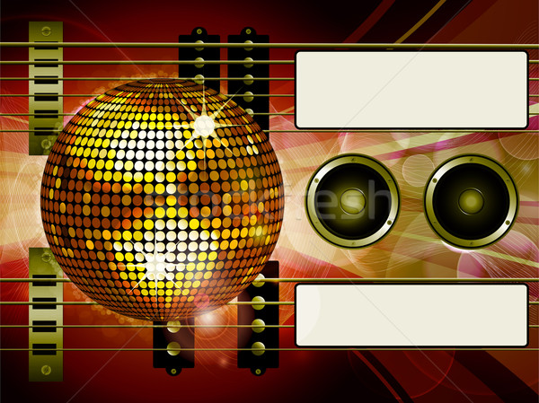 Air guitar and disco ball background with labels Stock photo © elaine