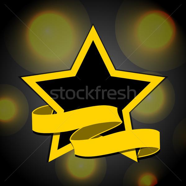 Sarı siyah star afiş ışıklar Stok fotoğraf © elaine