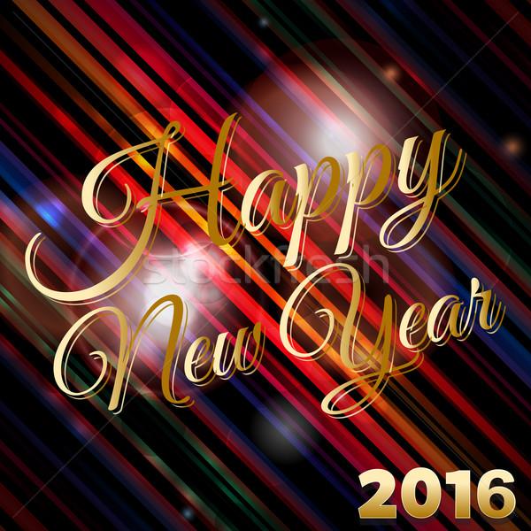 Feliz ano novo 2016 texto listrado lente Foto stock © elaine