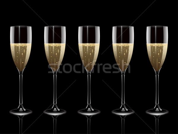 Champagne fila flauti sfondo occhiali bolle Foto d'archivio © elaine