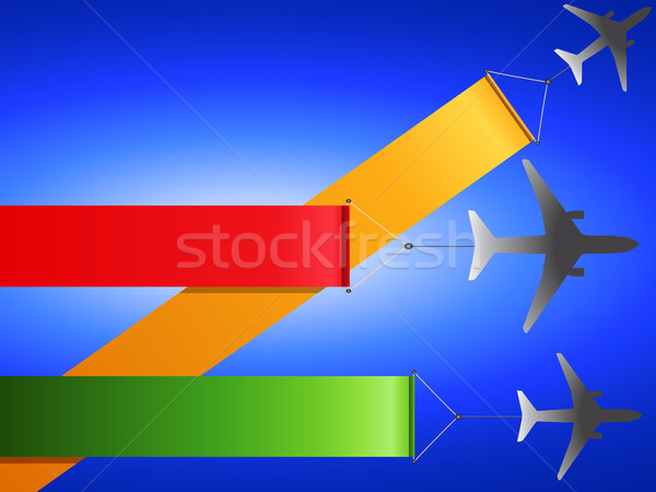 Airplanes flying with banners Stock photo © elaine
