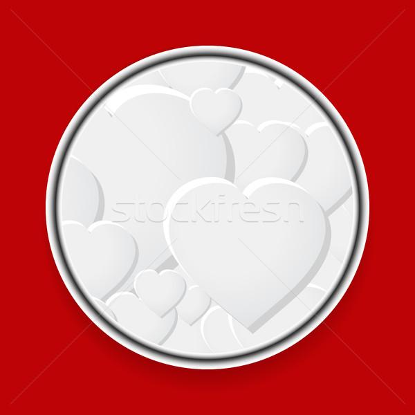 Metallic border with white hearts on red Stock photo © elaine