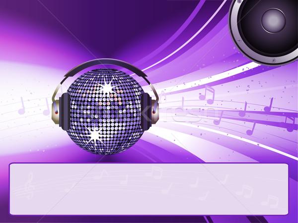 Disco świetle wiadomość disco ball słuchawek Język Zdjęcia stock © elaine