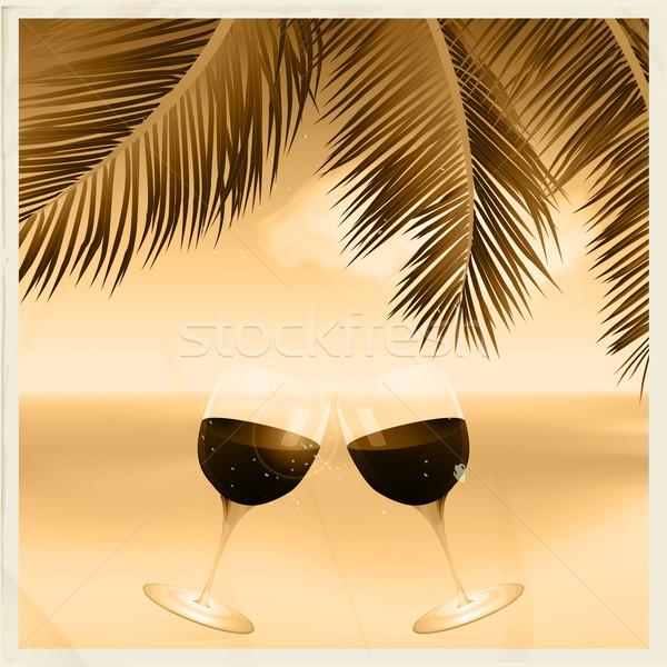 Bağbozumu sepya tropikal sahne şarap bardakları Stok fotoğraf © elaine